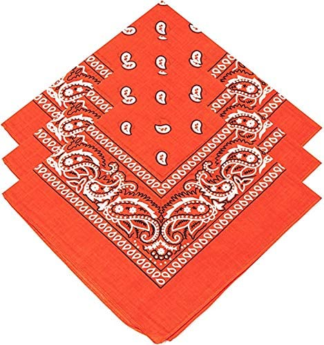 Paisley Bandanas Pack Of 3 Orange Paisley Cotton Paisley Print Neck Scarf Head Band Wrist Scarf 100/% Cotton Unisex Bandana