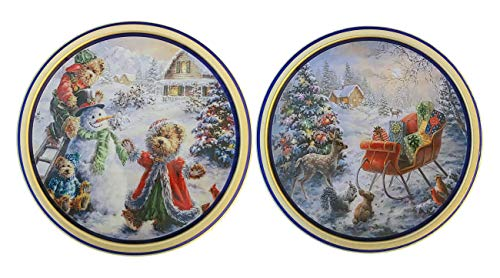 (Premium Original Gourmet Butter Cookies Holiday Edition Snow Scenes Decorative 2018 Tins, Set of 2)