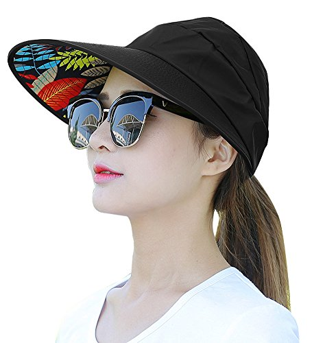 Sun Hats for Women HindaWi Wide Brim UV Protection Summer Beach Visor Cap (A-Black)
