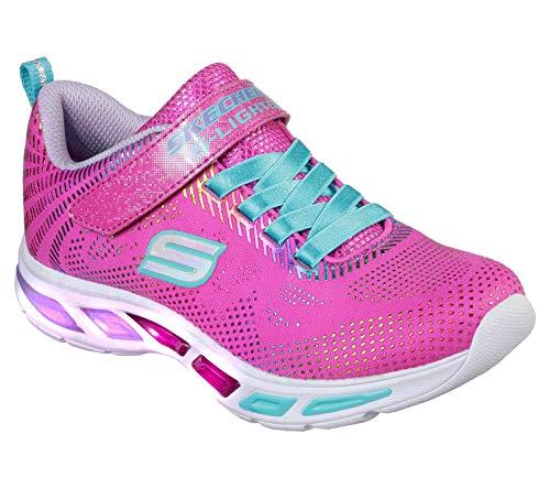 Skechers Kids Girls' Litebeams-Gleam N'DREAM Sneaker, neon Pink/Multi, 11.5 Medium US Little Kid
