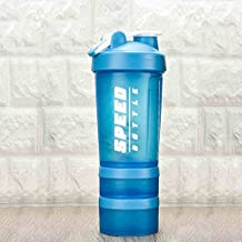 Ueasy Protein Shaker Bottle Powder Cup for Sports with with 22-Ounce Transparent Bottle, Stirrer Free Shakes, Fitness Storage Containers and Exercise Pill Organizer