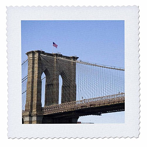 3dRose qs_93080_2 The Brooklyn Bridge in New York City, New York-Us33 Dfr0023-David R. Frazier-Quilt Square, 6 by 6-Inch