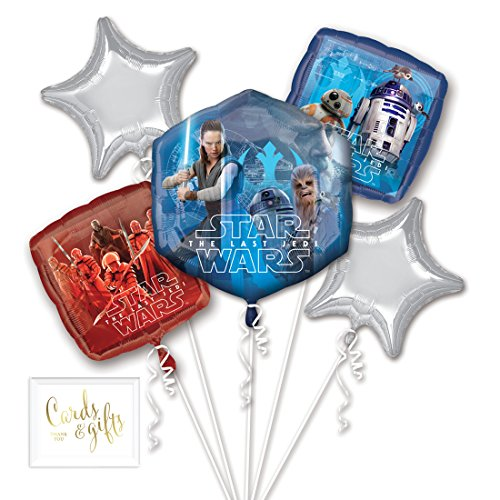 Andaz Press Balloon Bouquet Party Kit with Gold Cards & Gifts Sign, Star Wars 8 Foil Mylar Balloon Decorations, 1-Set]()