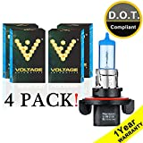 Voltage Automotive H13 9008 Headlight Bulb Polarize Super White Bright Replacement (4 Pack) - Professional Upgrade Head Light Bulb
