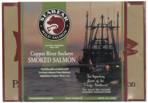 (SeaBear Copper River Smoked Sockeye Salmon, 6 Ounce Units)
