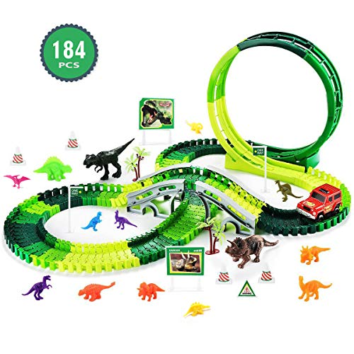 (Dinosaur Race Track Kids Toys - 184 PCS Jurassic Dinosaur World 360° Loop Flexible Track Sets Slot Race Car Dinosaurs Group Toys Gifts for 3 4 5 6 7 8 9 Year Old Boys and Girls, Batteries Included)