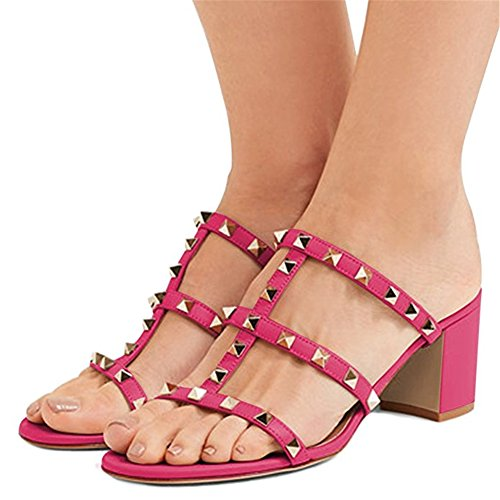 Heel EU Donna con Caitlin Open 35 Chunky Sandals Borchie per Toe Rosa Block 50 Borchie Sandali Heels con Mid Slide Pan Dress Slipper Mm 45 p4vxwIv1
