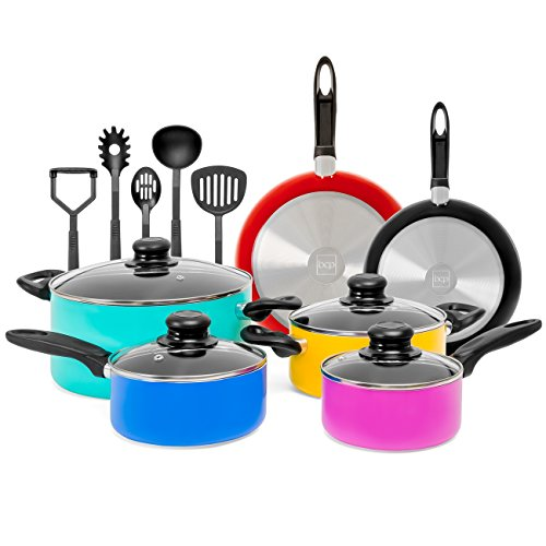 Best Choice Products 15-Piece Nonstick Aluminum Stovetop Oven Cookware Set for Home, Kitchen, Dining with 4 Pots, 4 Glass Lids, 2 Pans, 5 BPA Free Utensils, Nylon Handles, Multicolor