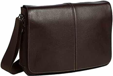 60c236bbe2 Boconi Tyler Tumbled Slim Mailbag Leather Messenger in Coffee w Khaki