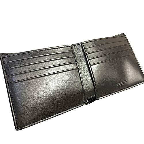 メンズコーチ  ウルフ/狼 シグネチャー珍しいデザインでカッコイイ!二つ折り財布 ダブルビルフォールド ウォレット COACH F31522 QB/BK 小銭入れなし
