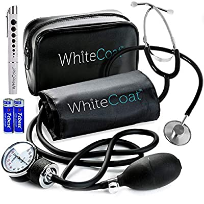 White Coat Deluxe Aneroid Sphygmomanometer Professional Manual Blood Pressure Cuff Monitor with Adult Sized Black Cuff Plus White Coat Stethoscope and LED Penlight with Pupil Gauge