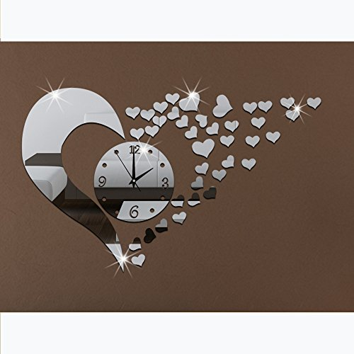 3d acrylic mirror wall sticker clock decoration decor