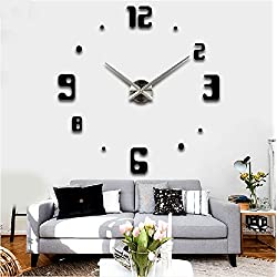 Alrens_DIY(TM)Arabic Digits Numbers Luxury Large Size Contemporary Design DIY Frameless 3D Big Mirror Surface Effect Time Hours Wall Clock Watches Home Decoration Living Room Décor Wall Sticker Decal Meeting Room Office Self-adhesive Creative Art Decor -2