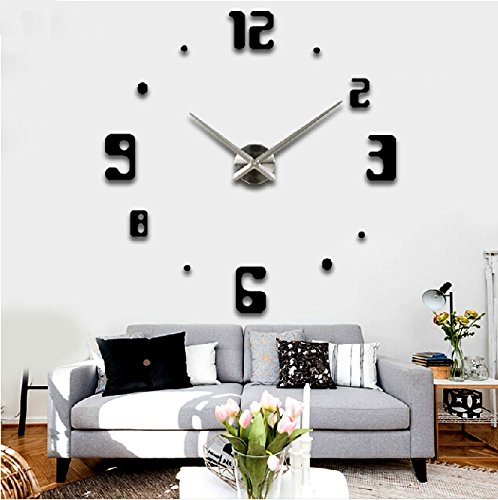Alrens_DIY(TM)Luxury Arabic Numerals Digits Large Size Modern Design DIY Frameless 3D Big Mirror Surface Effect Wall Clock Watches Home Living Room Bedroom Office Decoration Self-adhesive Wall Sticker Decor Creative Art - Arabic Clock Square