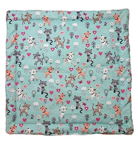 "Refillable Catnip Blanket - 17"" x 17"" Cat Play Mat - Lap Pad - 3 Layers - Machine Wash - Teal Cat"