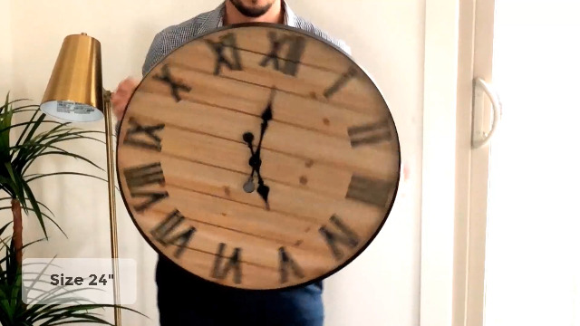 24 inch Rustic Wall Clock | Handmade Large Clock | Real Wood Clock, Beautiful Decorative Wall Clock Large | Oversized… 7