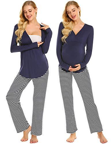 Ekouaer Womens Long Sleeve Labor Delivery Pajama Set Hospital Gown Breastfeeding Maternity PJS (Navy Blue Striped S)