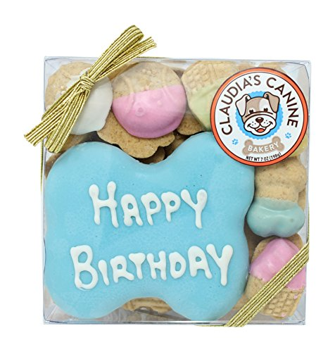 Claudias Canine Bakery Happy Birthday Assorted Dog Treats in Blue by