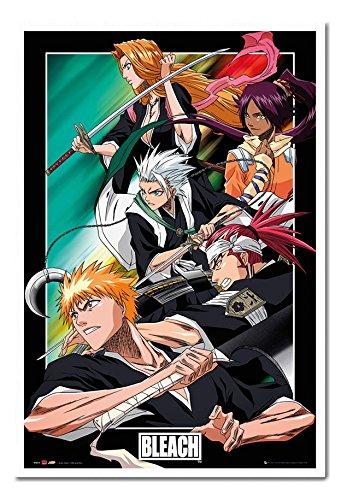 Bleach Manga Anime Group Poster White Framed & Satin Matt Laminated cms Approx