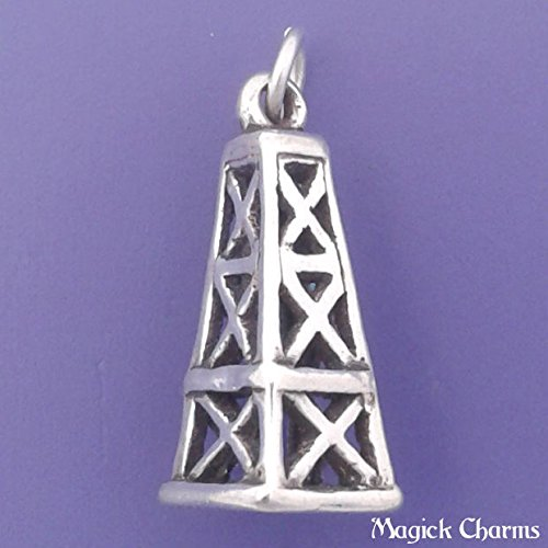 - Sterling Silver 3-D OIL DERRICK Charm Pendant - sc836 Jewelry Making Supply Pendant Bracelet DIY Crafting by Wholesale Charms