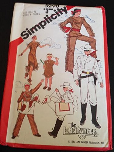 Simplicity 5298 Sewing Pattern, Boys' and Girls' Lone Ranger, Tonto, Silver and Scout Costumes, Size 10-12 -