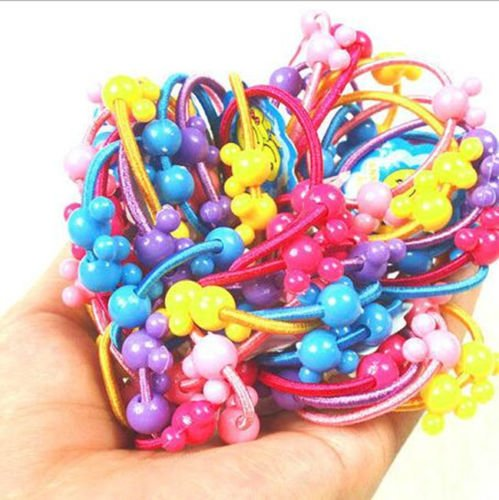 dolly2u 30pcs Colorful Cute Mickey Mouse Elastic Ponytail Holders Hair Tie Assorted Rope Rubber Bands Accessories Scrunchie for kid girl baby (Muti-color)