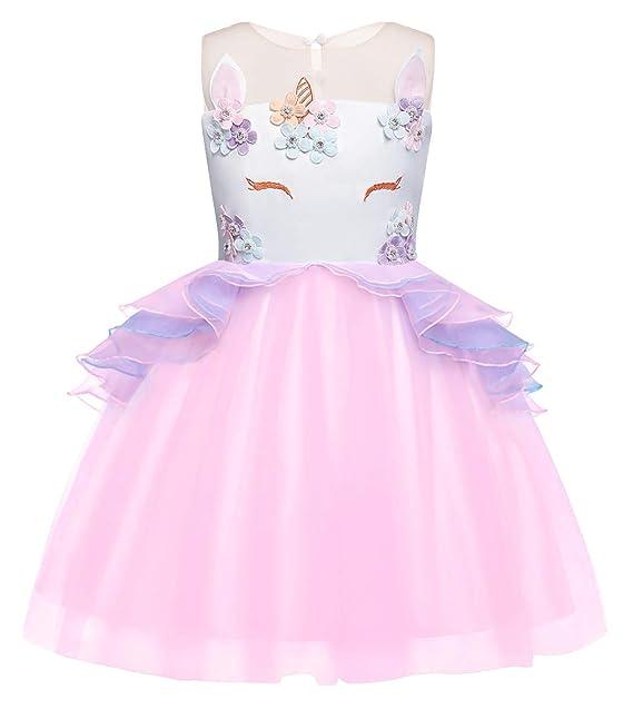 AmzBarley Ni?as Unicornio Princesa Vestido de tut¨² Tul Ni?a de