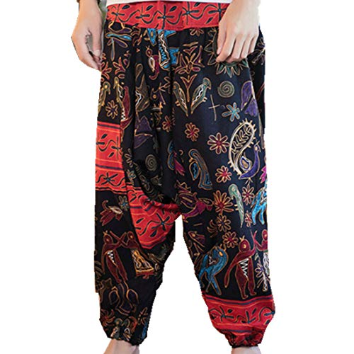 Hzcx Fashion Men's Vintage Cotton Blends Linen Drop Crotch Jogging Harem Pants DSC229-DK69-60-SU-US S TAG L ()