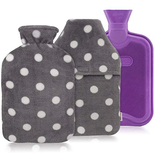 HomeTop Premium Classic Rubber Hot or Cold Water Bottle with Soft Fleece Cover (2 Liters, Purple/Gray Polka Dot Envelope Cover + Regular Cover)