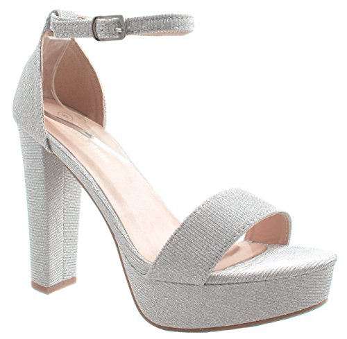 e2e03aa85d9 Asushoes Women s Top Moda Thomas-52 Silver Open Toe High Chunky Block Heel  Platform Ankle