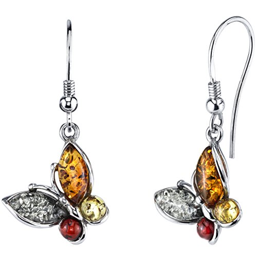 Sterling Silver Baltic Amber Multi Color Butterfly Drop Dangle Earrings 1.5 inches long (Amber Earrings Silver Plated)