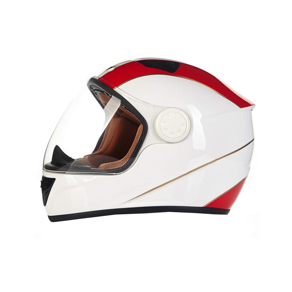 White XLarge Motorcycle Helmet Fiber Motorcycle Helmet, Full face Helmet for Men and Women, Four Seasons Warm and AntiFog Trail Running Helmet, Personalized rain Predection Cap Road Helmet