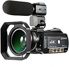 Camcorder 4K, Ordro 4K Ultra-HD Digital Video Camera with External Microphone, Wide Angle lens and Lens Hood/IR Night Vision Camcorder 24MP Wifi 60fps by Emperor of Gadgets