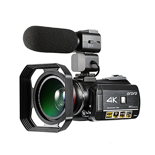 Camcorder 4K, Ordro 4K Ultra-HD Digital Video Camera with External Microphone, Wide Angle lens and Lens Hood / IR Night Vision Camcorder 24MP Wifi 60fps by Emperor of Gadgets by Emperor of Gadgets
