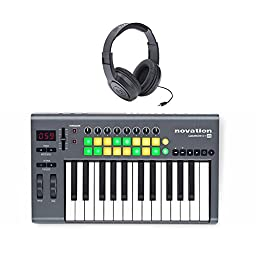 Novation Launchkey 25 Midi Controller with Tascam TH-02 Closed-Back Headphones Bundle