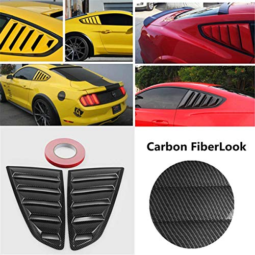 C-pillar Scoops - Star-Trade-Inc - 2pcs Carbon Fiber Look Style 1/4 Quarter Car Side Window Scoop Cover Five Slot Open Louvers Cover Vent For Mustang 2015-