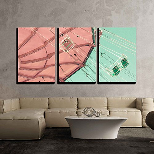 """Wall26 - 3 Piece Canvas Wall Art - Vintage Pastel Swing Chairs - Modern Home Decor Stretched and Framed Ready to Hang - 24""""x36""""x3 Panels"""