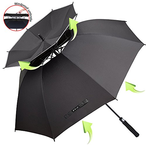 ZOMAKE Windproof Golf Umbrella, 62 inch Large Umbrella for Rain Double Canopy Automatic Open Vented Stick Umbrellas
