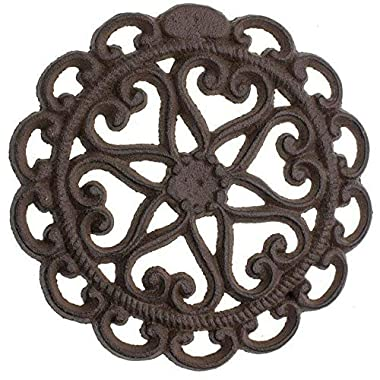Cast Iron Trivet | Round with Vintage - Pattern Decorative Cast Iron Trivet For Kitchen Or Dining Table - 6  Diameter - With Rubber Pegs - Rust Brown Color - by Comfify CA-1504-08-BR
