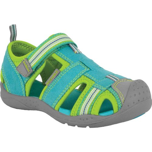 Pediped Flex Girl's Sahara Adventure Washable Sandal, Turquoise/Lime, 29