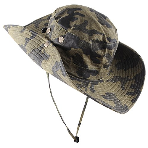 Micoop Wide Brim Military Camouflage Hat Summer Fishing Hunting Camping Hiking Cap Outdoor Sun Hat Boonie Hat (Military - Hat Jungle Boonie