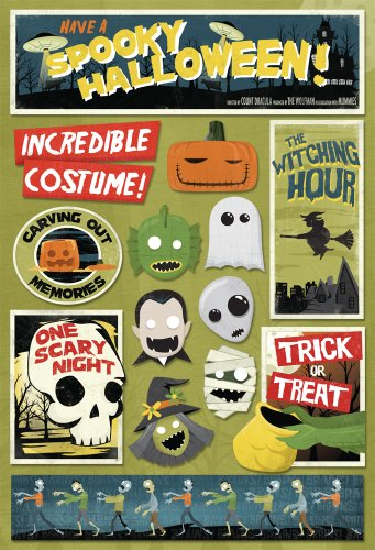 KAREN FOSTER Design Acid and Lignin Free Scrapbooking Sticker Sheet, Spooky -