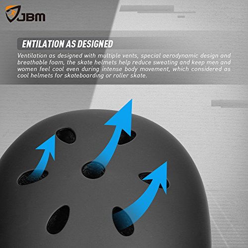JBM Helmet for Multi-Sports Bike Cycling, Skateboarding, Scooter, BMX Biking, Two Wheel Electric Board and Other Sports [Impact Resistance] (Black, Adult) by JBM international (Image #7)