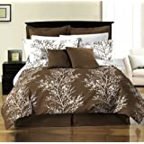 Chezmoi Collection 8-Piece Soft Microfiber Reversible Tree Branches Bed-In-A-Bag Comforter with Sheet Set Queen Size, Brown