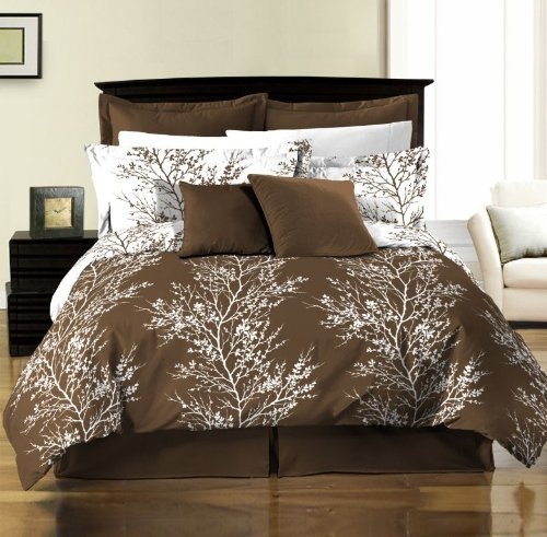 Chezmoi Collection 8-Piece Soft Microfiber Reversible Brown/White Tree Branches Bed in a Bag Comforter with Sheet Set, Queen