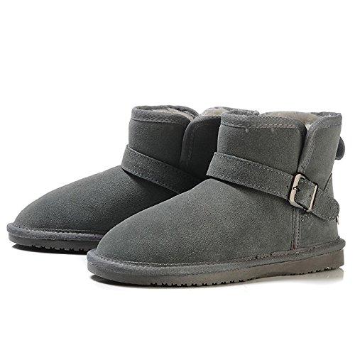 HSXZ Zapatos de mujer invierno Botas de cuero comodidad nieve botas de forro de pelusas Plano redondeado Toe Toe cerrado botines/botines de oscuro Negro Casual Dark Grey