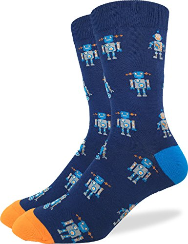 Good Luck Sock Men's Blue Robot Crew Socks,Large (Shoe size 7-12)