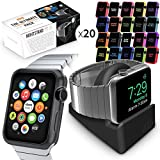Watch Series 3 Pack, Orzly ULTIMATE PACK for Apple Watch Series 3 & Series 2 (38 MM) - Includes Orzly Compact Stand AND 20 FacePlates [Protective Apple Watch 3 Cases] in Assorted Colour Multi-Pack
