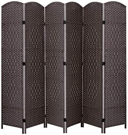 ORAF Room Divider 6 ft. Tall 19.69 Wide Folding Privacy Screens 6 Panel, Hand Weave Fiber Standing Room Dividers and Separator, Temporary Partition Wall Divider for Room and Office Dark Coffee