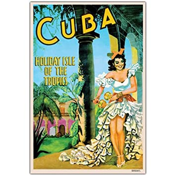Amazon.com: Cuba Holiday Isle Lienzo Arte de la pared, 24x32 ...